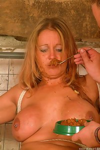 Hot girl is hummiliated with food and cigars