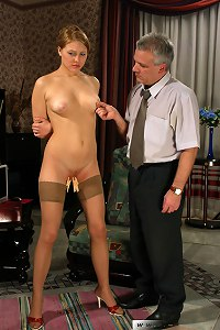 Boss examine his new slavegirl