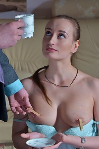 Elegant lady submits to her master and being punished