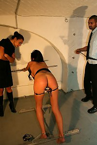 Nude girl double whipped in  bdsm dungeon