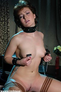 Horny MILF secretary gets herself tied up