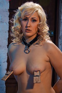 Big breast blonde slave waits her faith