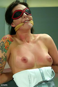 Lexi Bardot, bondage lover, blindfold and tied fucks her master.