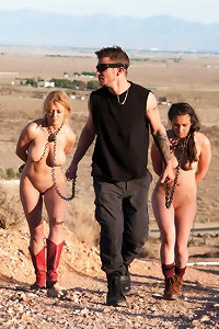 BDSM Fantasy Movie, Darling and Casey Calvert captured by Cruel Hunter after the Apocalypse.