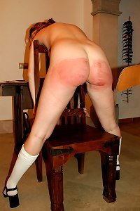 Horny slut spreads her ass cheeks to receive a blistering paddling - severe marks