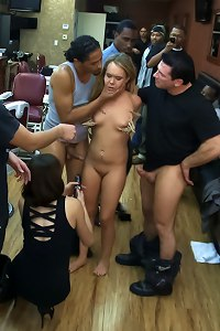 Shani Ried gets PLOWED in a Barbershop full of huge COCKS!!!