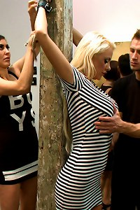 Courtney Taylor is the main event- hot blonde with huge tits disgraced and fucked in a gallery full of art students. Bondage and humiliation!