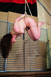 Brunette cutie is suspended in strict rope bondage for the first time.