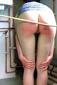 A long & hard caning in the laundry room
