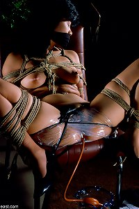 School Mistress tied her in intricate Shibari bondage and suspensions.